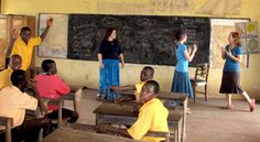 Rachel, Leah and Carissa teaching in the Special Education Classroom at the Demonstration School for the Deaf, in Ghana.