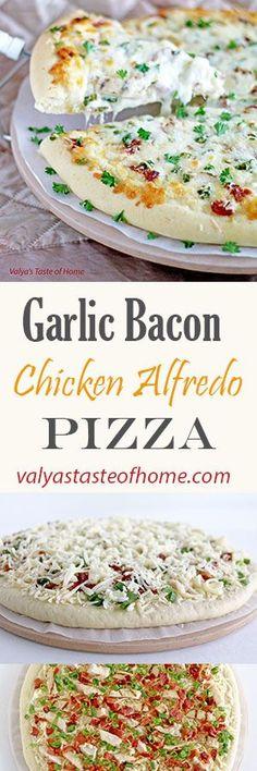 Garlic Bacon Chicken Alfredo Pizza www. Pizza Recipes, Pork Recipes, Dinner Recipes, Cooking Recipes, Dinner Ideas, Entree Recipes, Lunch Ideas, Chicken Alfredo Pizza, Pasta