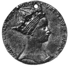 MARGARET OF ANJOU (b.1430-d.1482). QUEEN CONSORT OF HENRY VI from 23rd April, 1445 until her husband's (supposed) date of death, the 21st of May, 1471. HOUSE OF LANCASTER.  PICTURE: This medal of Margaret of Anjou could very well be our most accurate contemporary likeness of her. Victoria and Albert Museum, London.