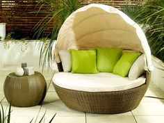 Love Sofa in Natural Finish- Hide from the summer breeze and shelter from the sun under its adjustable canopy - Garden ideas 2015 - by Living It Up