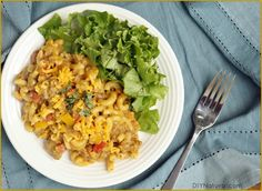 Homemade Hamburger Helper: 1 lb ground beef, 1 onion finely diced, 2 cloves garlic minced, 1 tsp mustard powder, 1 tsp paprika, 1 tsp salt, 1/4 tsp pepper, 1/4 tsp turmeric, 1-1/2 c milk, 1-1/2 c beef broth, 2 c uncooked macaroni, 1 c extra sharp cheddar.  Brown meat.  Add seasonings, onions, garlic and veggies such as peas, tomato, peppers, etc.  Add milk, broth, noodles.  Mix and cook uncovered, 10-15 minutes until liquid is absorbed.  Stir in cheese.  Let stand for 5 minutes.