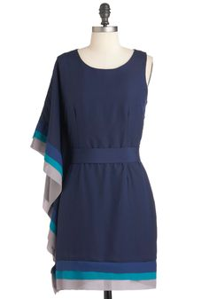 With the Mostess Dress - Mid-length, Blue, Grey, Solid, Party, Sheath / Shift, One Shoulder, Belted