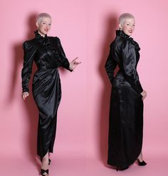 WICKEDLY SEXY 1970's Designer Inky Black Satin by butchwaxvintage