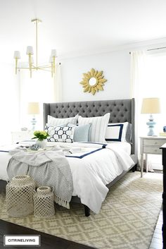 Adding summer touches to your bedroom is as simple as throw pillows, a casual throw, and some pretty coastal accents. Bring in the season with these these no-fail tips for a relaxing and airy summer bedroom! Bedroom Bed, Bedroom Furniture, Master Bedroom, Airy Bedroom, Furniture Sets, Bed Room, Bedroom Decorating Tips, Bedroom Ideas, Bedroom Inspo