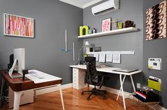 I love the simplicity of this office.  Neutral walls with pops of colour.  Fresh and inspiring and modern.