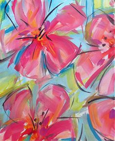 Abstract Hibiscus Hot Pink Lime aqua canvas by Marendevineart