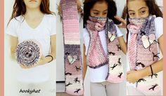 crochet scarf powder pink cream for girl 1.90 cm/https://www.facebook.com/hookyhat/