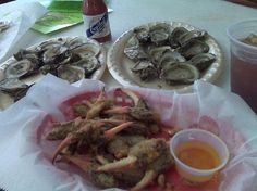 Oysters and fried crab claws at Posey's oyster bar in Panacea