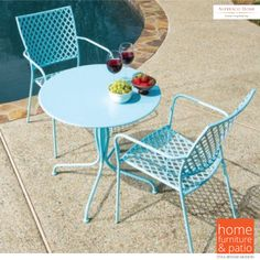 Alfresco Home Martini Wrought Iron 3 Piece 28 in. Round Patio Bistro Set - Outdoor Bistro Sets at Hayneedle Wrought Iron Outdoor Furniture, Metal Patio Furniture, Wrought Iron Patio Chairs, Outdoor Furniture Sets, Furniture Ideas, Outdoor Dining Set, Patio Dining, Outdoor Rooms, Outdoor Decor