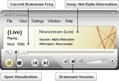 I use Mind Stereo media player to transform your current music into brainwave entrainment powered music including hallucinatory visuals.