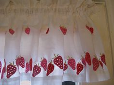 70s Embroidered Strawberry Curtains by by 100PercentPolyverse, $15.00