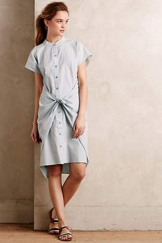 Tied Chambray Shirtdress - anthropologie.com