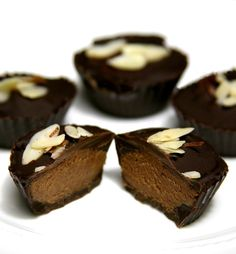Reese's Peanut Butter Cups get a redo in our vegan version of the classic! Made with almond butter and maple syrup, it's lower in calories, fat, cholesterol, and sugar and tastes more rich and decadent than the original.