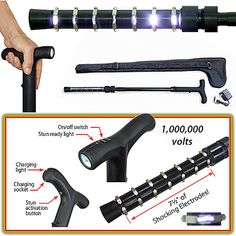 Zap Cane - Stungun Rechargeable Cane with LED Flashlight WATCH OUT BADGUYS!!!!! I AM BECOME ELECTRIC EEL WOMAN!!!!!!