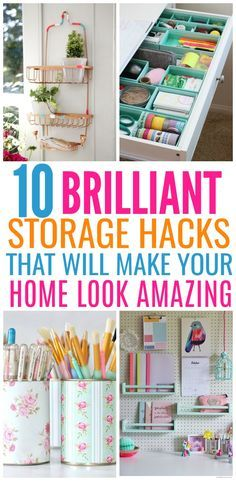 These 10 storage hacks will make you look like a professional organizer. From rolling carts to drawer dividers. There are so many great ideas to transform your space.