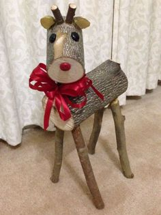 My first log reindeer. My little