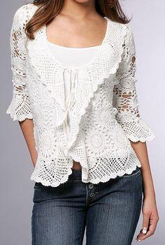 Lace top blouse, jacket   crochet handmade , custom made . Shrug Bolero by Irenastyle via Etsy