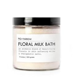 FLORAL MILK BATH  large glass jar  skinsoftening  by FIGandYARROW, $32.00