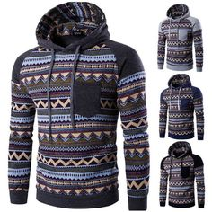 Cozy Mens Hoodies Retro Ethnic Style Pattern Printing Front Pocket Sport Casual Hooded Tops - NewChic