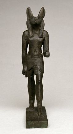 Bronze figure of Anubis as a standing jackal-headed figure. Late Period (?) | The British Museum Anubis, Gods And Goddesses, British Museum, Ancient Egypt, Egyptian, Old Things, African, Terracota, Statue