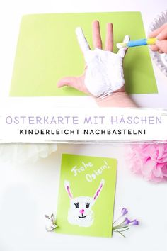 Making Easter cards with children - familie.de Osterkarten mit Kindern basteln So even very small children can make a sweet Easter card. Diy For Kids, Crafts For Kids, Children Crafts, Diy Cardboard, Child And Child, Easter Bunny, Easter Card, Easter Crafts, Easter Ideas