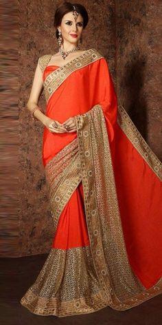 Attractive Orange Pure Silk Saree With Blouse.