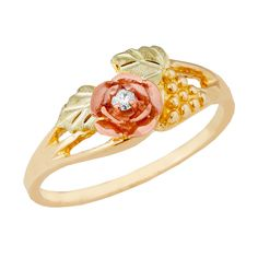 Ladies Black Hills Gold Rose With Diamond Ring - G1100D'