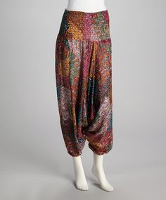 Take a look at this Fuchsia Feather Harem Pants by Coline USA on #zulily today!