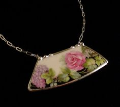 Broken china jewelry necklace Hydrangea rose floral antique porcelain china made from a broken plate