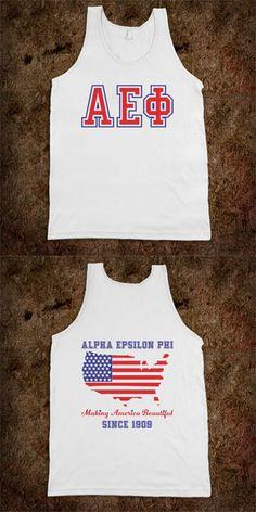 Alpha Epsilon Phi Frat Tanks - Making America Beautiful - Buy 1 or 100! CLICK HERE to purchase :) sorority shirts