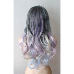 Pastel dark gray baby blue /lavender /cream blonde Ombre wig. Long... (645 BRL) ❤ liked on Polyvore featuring hair and makeup
