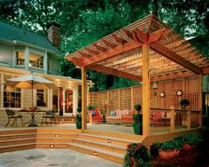 Small Outdoor Kitchens with Pergola | Composite deck with large pergola designed and built by Atlanta ...