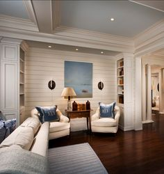"""Family Home with Classic Coastal Interiors The Ceiling is painted in """"Sherwin Williams Timid Blue SW6490″ – Flat. Luxury Interior Design, Home Interior, Coastal Interior, Design Interiors, Interior Paint, Coastal Living, Home And Living, Coastal Cottage, Modern Coastal"""