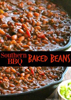 Southern Barbecue Baked Beans - My Cooking Ideas 2019 Southern Baked Beans, Best Baked Beans, Baked Bean Recipes, Baked Beans Crock Pot, Chicken Recipes, Homemade Baked Beans, Ground Beef Baked Beans, Vegetable Recipes, Beans Recipes