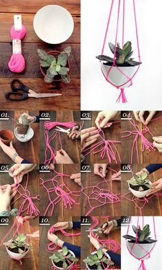 Maiko Nagao - diy, craft, fashion + design blog: DIY: Neon plant hanger by Refinery 29