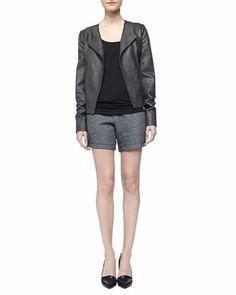 Snake-Embossed Leather Jacket, Favorite Tank & Drawstring Sweat Shorts by Vince at Bergdorf Goodman.