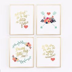 Navy blue, coral and gold for baby girl nurseries is a super popular color combination for nurseries. There is also a touch of mint green in the leaves. This wall print set was designed to match much
