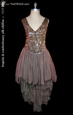 """Vintage 1920s confectionary flapper dress, sequins and silk chiffon; antique """"Great Gatsby"""" era couture. (The garment is from our vintage couture collection at TheFROCK.com, though it is no longer available.)"""