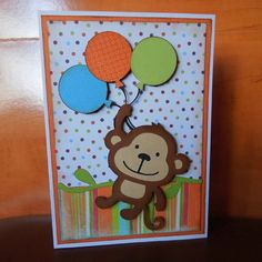 Happy Birthday Card - Monkey with Balloons - Boy - Cricut Create a Critter - A7 size
