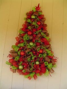 Wall hanging deco mesh christmas tree. $185.00, via Etsy.
