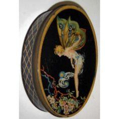 'Fluttering Fairy', Art Nouveau, elliptical confectionery tin, c.1930s