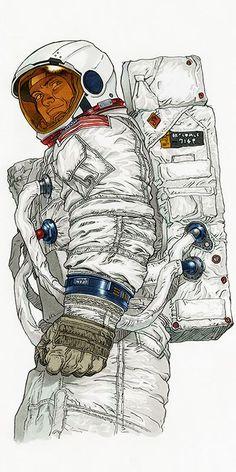 Art by Akria creator, Katsuhiro Otomo. Character Drawing, Character Concept, Comic Character, Concept Art, Arte Sci Fi, Sci Fi Art, Art And Illustration, Illustrations, Serpieri