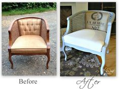 Vintage Chair Redo with burlap