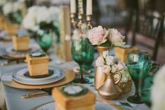 Emerald green & gold engagement party [I KNEW this color scheme would be big for weddings this year]!