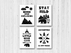 Scandi Nursery Art Prints Set of 4 Black White Nursery Prints Scandinavian Wall Art Boys Nursery Bear Wild Explorer Adventure Monochrome Nursery Decor Boy, Boys Bedroom Decor, Nursery Prints, Nursery Wall Art, Bedroom Ideas, Bedroom Prints, Nursery Design, Nursery Ideas, Black White Nursery