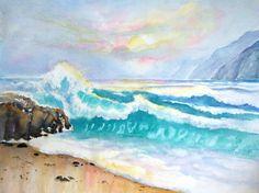 California Seascape at Sunset Ocean Waves Coastal art ORIGINAL Watercolor painting by CarlinArtWatercolor artist Carlin Blahnik
