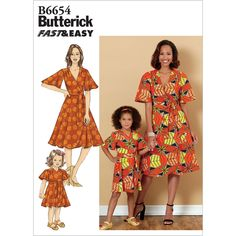 Misses and Girls Dress and Sash Butterick Sewing Pattern 6654 from Sew Essential. Dress Sash, Wrap Dress, Miss Girl, Dressmaking Fabric, Dress Sewing Patterns, Holiday Dresses, Gingham, Girls Dresses, Fabrics