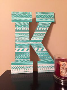 Painted Letter: Tribal Print by PaintMePeachy on Etsy Cardboard Letters, Diy Letters, Painted Letters, Wood Letters, Sorority Crafts, Sorority Letters, Sorority Paddles, Tribal Letters, Sigma Tau