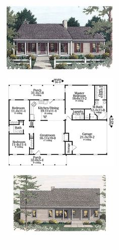 Ranch Style COOL House Plan ID: chp-34139 | Total Living Area: 1492 sq. ft., 3 bedrooms and 2 bathrooms. Split bedrooms, an open floor plan and nice porches. The master suite is private and the bath is large and comfortable with all the amenities usually found in larger homes. In the kitchen a snack bar provides additional seating and counter space. #ranchhome