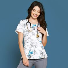 Peplum Top in Spring Meadow is a contemporary addition to women's medical scrub outfits. Shop Jaanuu for scrubs, lab coats and other medical apparel. Scrubs Outfit, Scrubs Uniform, Lab Coats, Medical Uniforms, Medical Scrubs, Scrub Tops, Floral Tops, Autumn Fashion, Cute Outfits